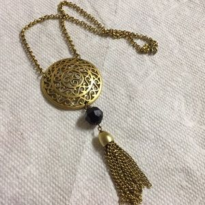 Tassel Metal medallion Necklace